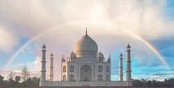Rainbow over Taj Mahal is a UNESCO World heritage site and one of 7th Wonder of the World.view from Mehtab Bagh opposite bank of Yamuna river, in Agra city, Uttar Pradesh, India
