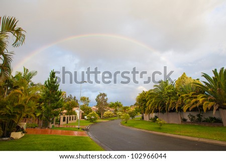 Rainbow over the street, Gold Coast, Australia