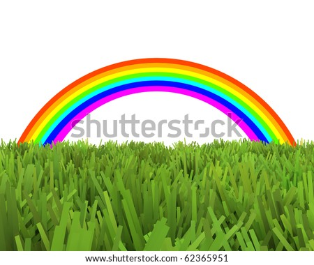rainbow over unnatural grass field