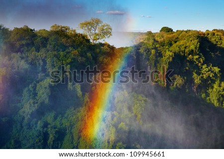 Rainbow over Victoria Falls, Zambezi river, Africa