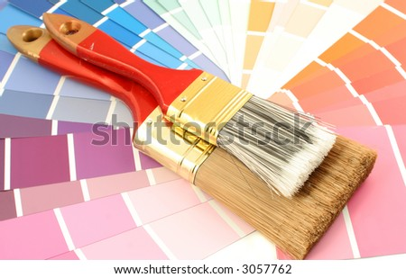 rainbow paint swatches, and paint brushes for home decorating