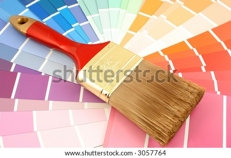 rainbow paint swatches, and small paint brush for home decorating