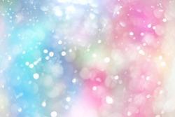 Rainbow pastel glitter background, lens bokeh effect, colorful spot backdrop, blur bubble banner, abstract pastel circle dot scene