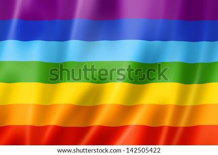 Rainbow peace flag, three dimensional render, satin texture