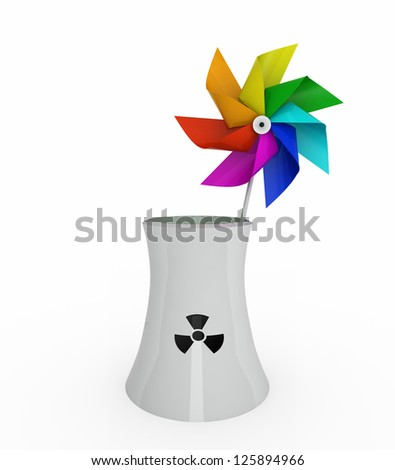 rainbow pinwheel over nuclear industry on white background, 3d illustration