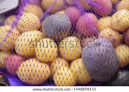 Rainbow potato, stock photo, stock images, this rainbow potatoes picture can be used as a background of food manufacturer.