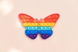 Rainbow Push Pop It Bubble Sensory Fidget Toy in form of Butterfly, Sensory Silicone Toys for Autism, Fidget Popper, Anti Anxiety and Stress Relief Game