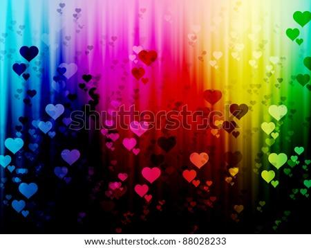 rainbow rain with  hearts