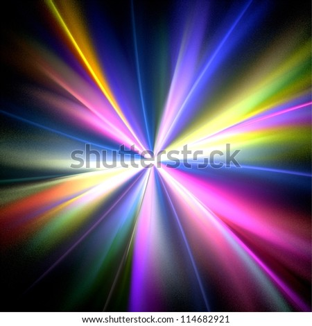 Rainbow rays on black background. Abstract background.