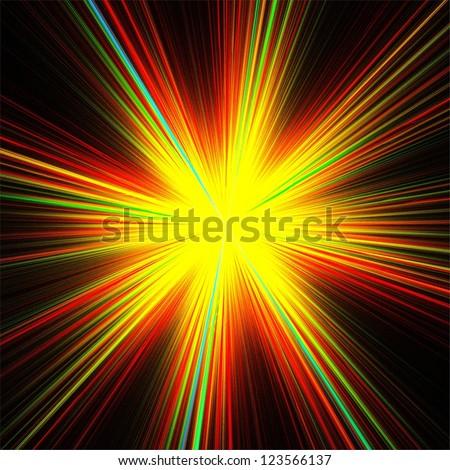 Rainbow rays on black background. Abstract illustration. - stock photo