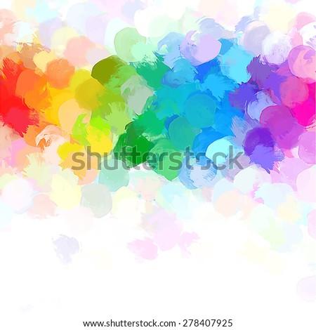 Rainbow round brush strokes background. Raster version