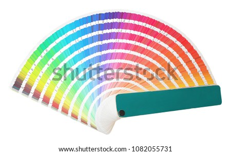 Rainbow sample colors catalogue in many shades of colors or spectrum isolated on white background. Color chart with color code detail information. Color sampler. Color palette. #1082055731