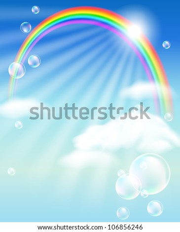 Rainbow, sky, clouds, bubbles  and  sunshine. Raster version of vector.