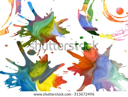 Rainbow splash isolated on white background. Rainbow blot isolated on white background.