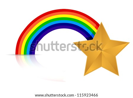 rainbow star illustration design over white background - stock photo