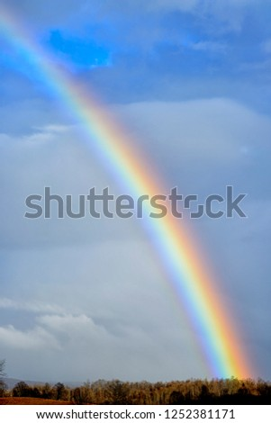 Rainbow, stormy sky, Webster County, West Virginia, USA #1252381171