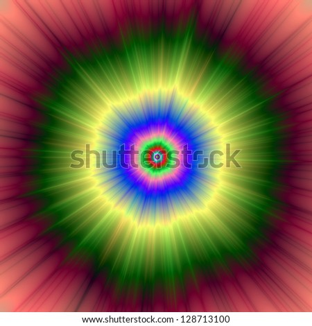 Rainbow Super Nova / Digital abstract fractal image with a psychedelic super nova design in green, red, blue and yellow.