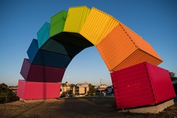 Rainbow, the colorful art sculpture in Freemantle, Perth, Australia.