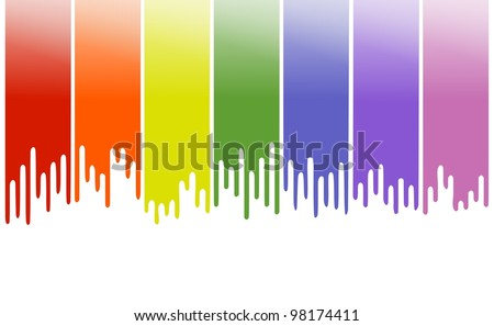 Rainbow themed pastel color background or banner with simulation of dripping paints and brush strokes on the top - stock photo