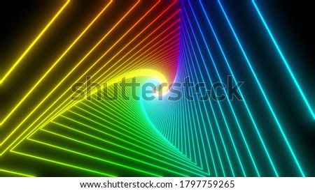 Rainbow triangle tunnel. Seamless 4K animation. Abstract motion screen background with animated loop box. Glowing neon frames with bright colors on a black background. 3D rendering stock photo