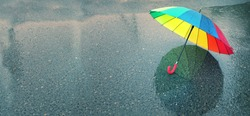 rainbow umbrella in puddle. natural background. colorful umbrella, symbol of rainy weather season. copy space. banner