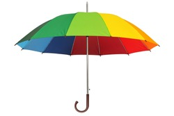 Rainbow umbrella isolated on white background