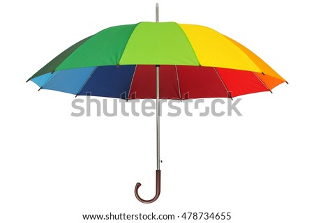 Rainbow umbrella isolated on white background #478734655