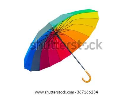 Rainbow umbrella on white background  #367166234