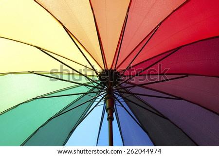 Rainbow umbrella\ The opened rainbow umbrella