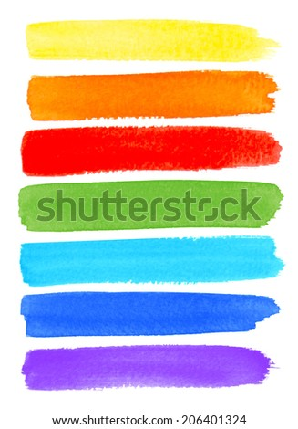 Rainbow Watercolor Brush Smears, raster illustration  #206401324