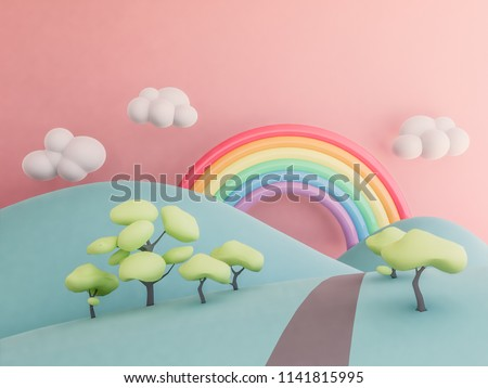 rainbow with mountains pastel background , 3d render stock photo