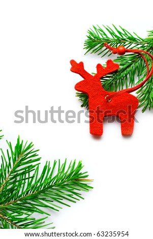 Raindeer and fir isolated on white