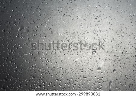 Raindrops at on the window in the back light.