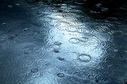 Raindrops falling on a lake surface