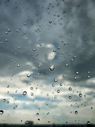 Raindrops on glass. Rainy weather. sad day. Dark sky.