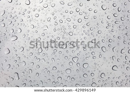 Raindrops on glasses surface. Natural Pattern of rain drops isolated on cloudy background. #429896149