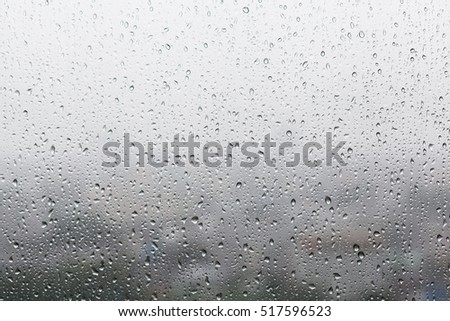 Raindrops on glasses surface. Natural Pattern of rain drops isolated on cloudy background. #517596523