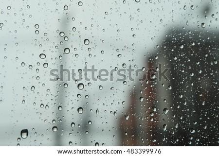 raindrops on window glass, background #483399976