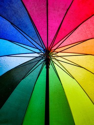 Raindrops seen from the inside of a rainbow coloured umbrella