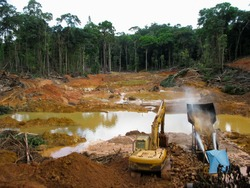 Rainforest destruction. Gold mining place in Guyana, South America. Amazon and Essequibo basin deforestation. Similar as in Brazil, Venezuela, Suriname, French Guyana, Peru, Colombia.