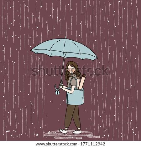 raining girl with blue umbrella and dark purple color background