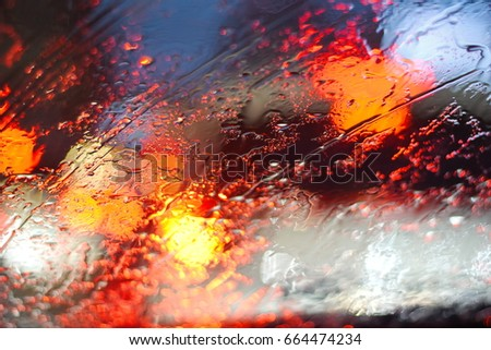 Raining on Glasses and Traffic Jam , Bangkok , Thailand