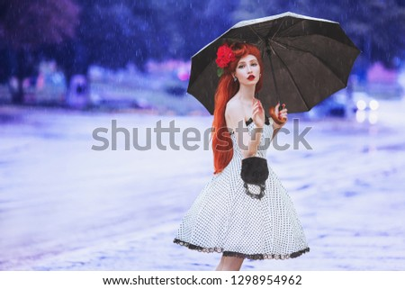 Raining weather. Autumn rain. Sick girl in anxiety in dress hold umbrella.  Umbrella protection. Lonely woman with disease was caught in rain. Sick girl in sorrow ask help. Autumn anxiety. Need help