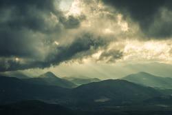 rainstorm, rays of lights, dark clouds, heavy rain, bad weather