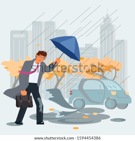 Rainy and windy day and unlucky walking young businessman holding an umbrella, walking under the rain. The car sprayed mud from a puddle on a man in a suit. Flat Art Rastered Copy