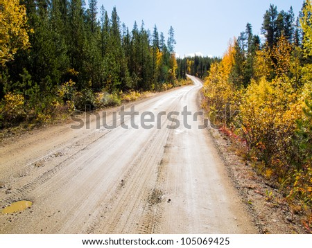 Rainy autumn day on South Canol Road, Yukon Territory, Canada, lined with beautiful yellow willow bushes in boreal spruce forest