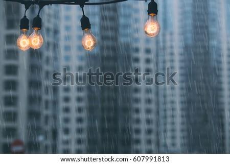 rainy day at the modern city...