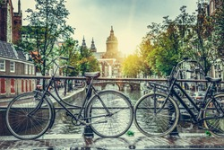 Rainy day in Amsterdam. Rainy cloudy day in the capital of the Netherlands, in the autumn.
