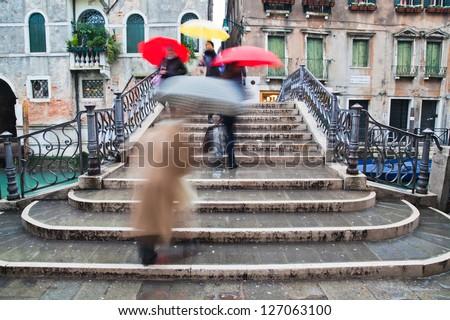 rainy day in Venice, Italy - stock photo