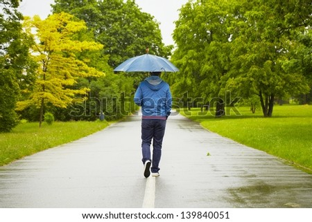 Rainy day - young man with umbrella
